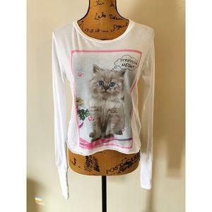 Wildfox Stressing Meowt Kitten Crop Top Tee